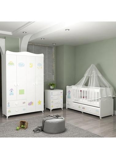 Garaj Home Garaj Home Pırlanta Yıldız 4Lü Uykucu Bebek Odası Takımı - Yatak Ve Uyku Seti Kombinli/ Uyku Seti Beyaz Beyaz